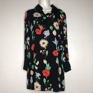 Zara Woman Dress Small Floral Long Sleeve Tunic